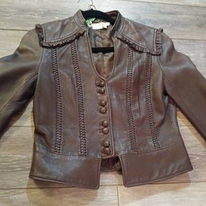 To the Max Brown leather cropped jacket.